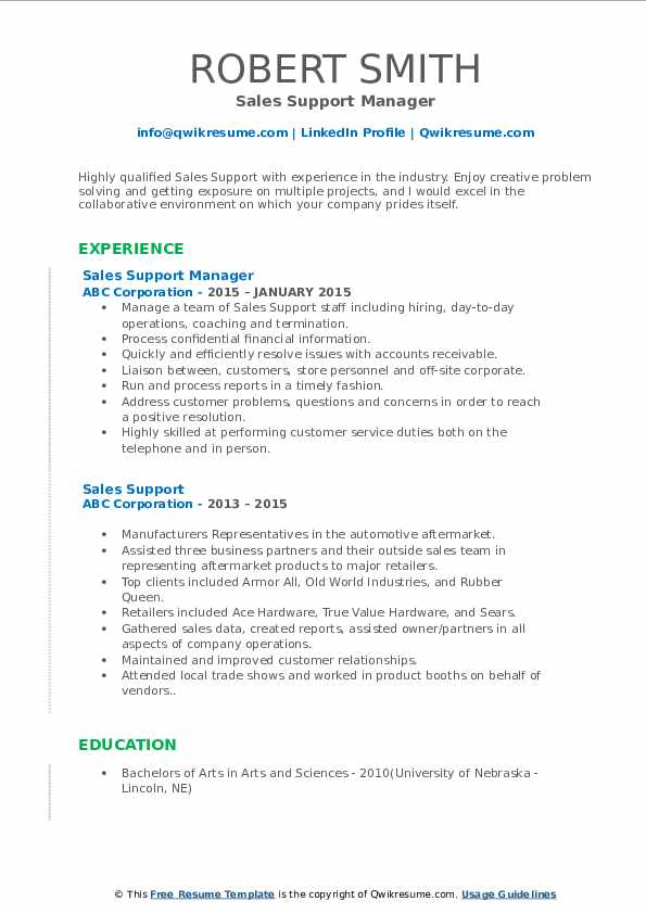 Sales Support Manager Resume Format