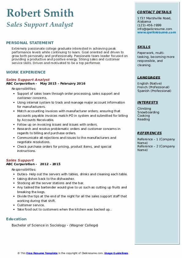 Sales Support Analyst Resume Example