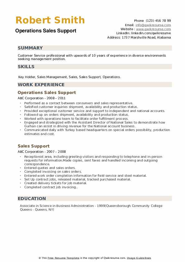 Operations Sales Support Resume Example