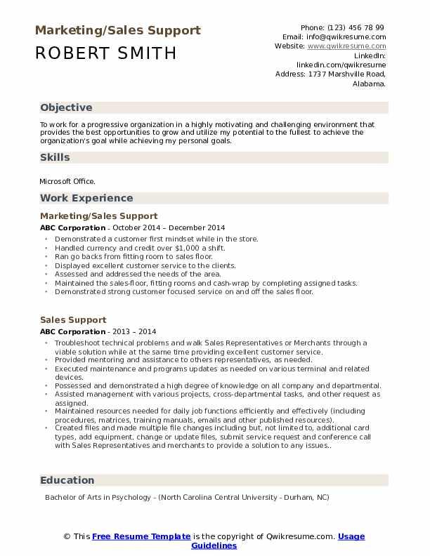 Marketing/Sales Support Resume Format