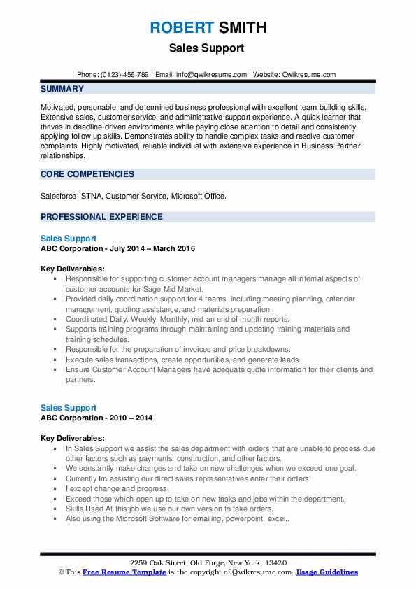 Sales Support Resume example
