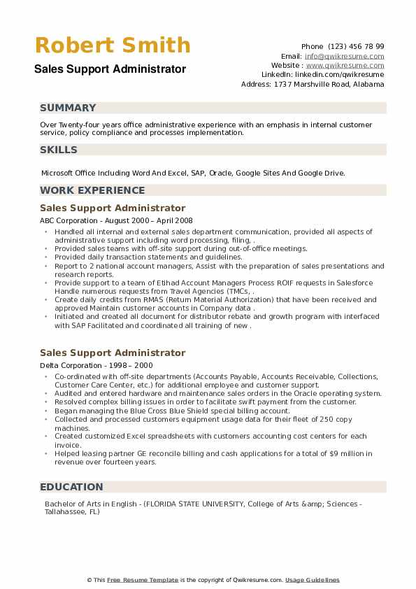 sales support administrator resume samples