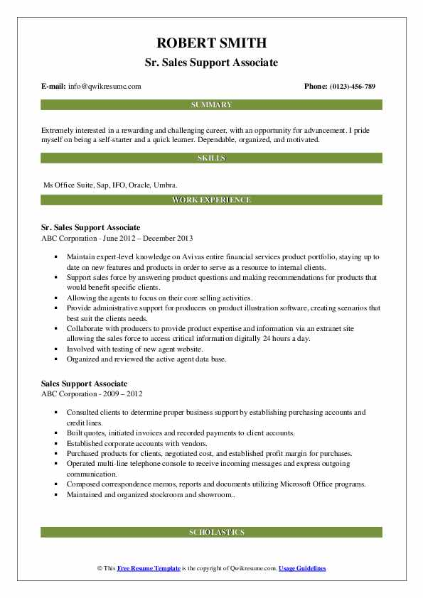 Sr. Sales Support Associate Resume Example