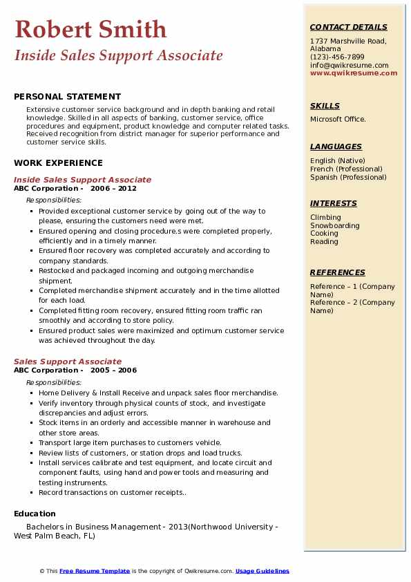 Inside Sales Support Associate Resume Template