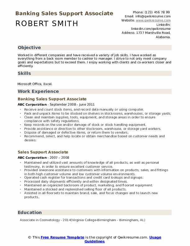 Banking Sales Support Associate Resume Example