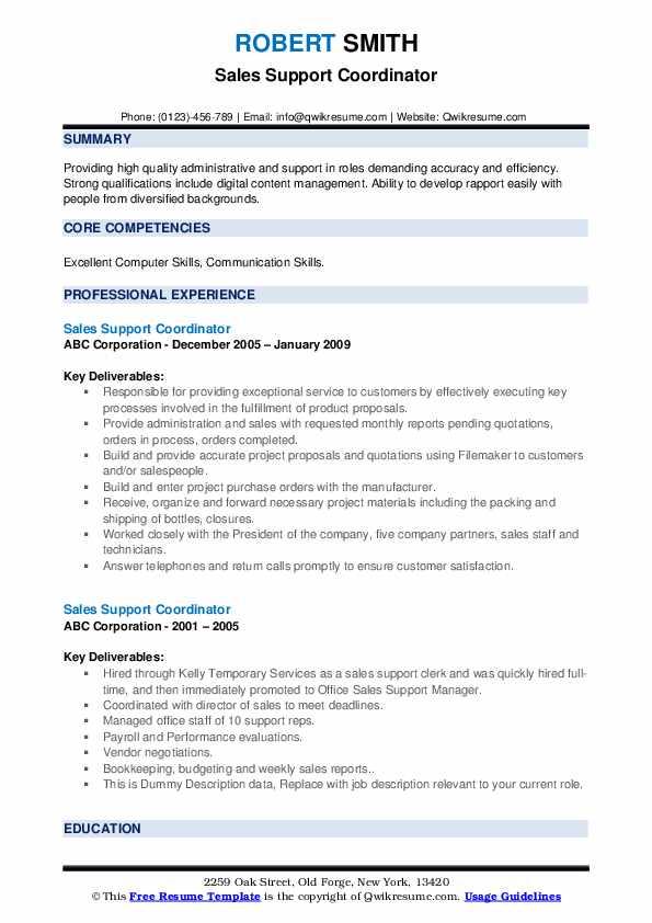Sales Support Coordinator Resume example