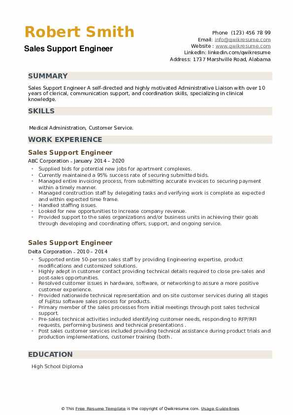 Sales Support Engineer Resume example