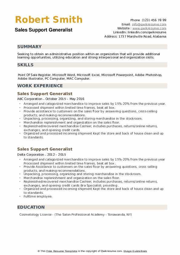 Sales Support Generalist Resume example