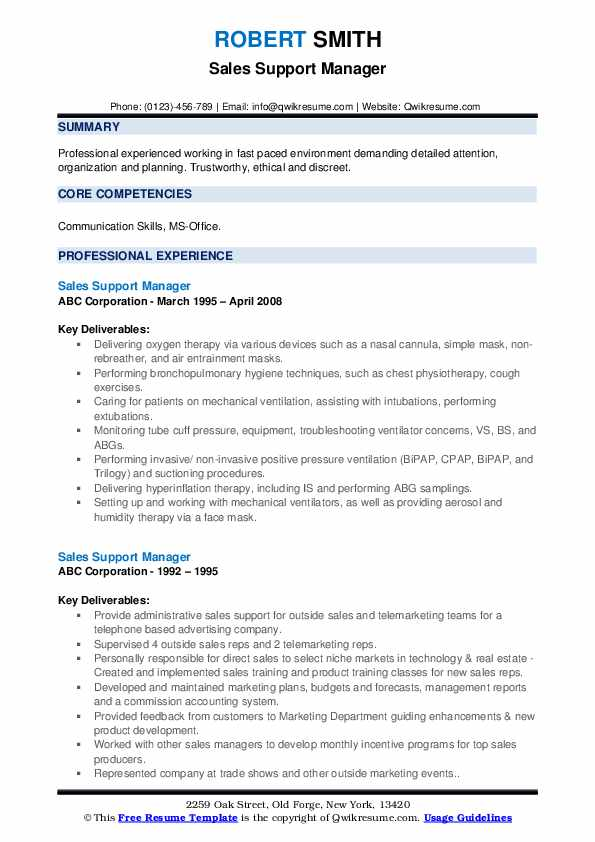 Sales Support Manager Resume example