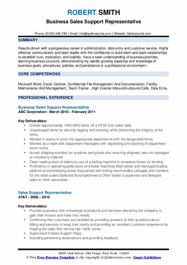 Business Sales Support Representative Resume Template