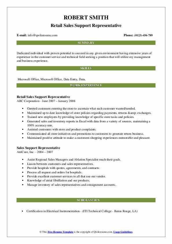 Retail Sales Support Representative Resume Format