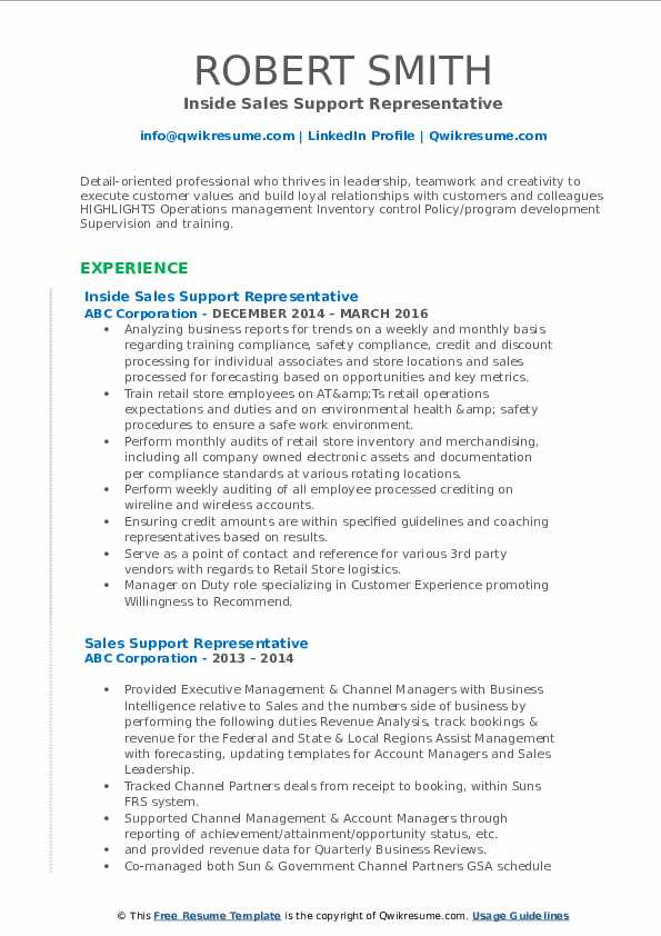 Inside Sales Support Representative Resume Template