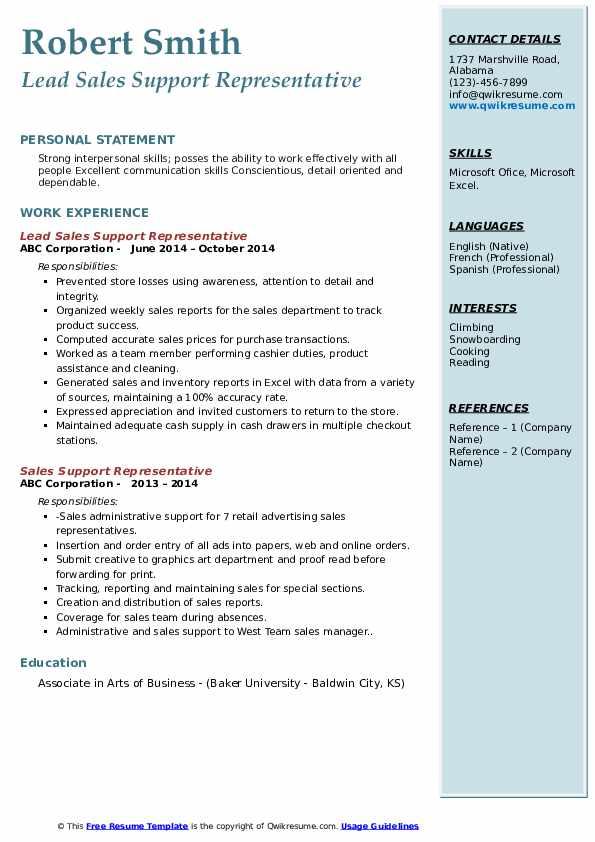 Lead Sales Support Representative Resume Model