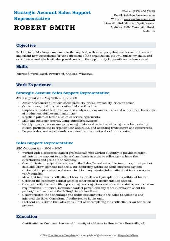 Strategic Account Sales Support Representative Resume Sample