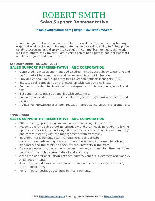 Sales Support Representative Resume Model