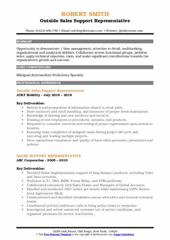 Outside Sales Support Representative Resume Template