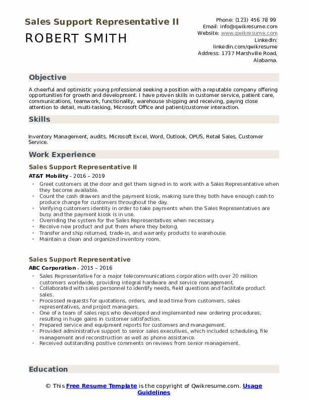 Sales Support Representative II Resume Model