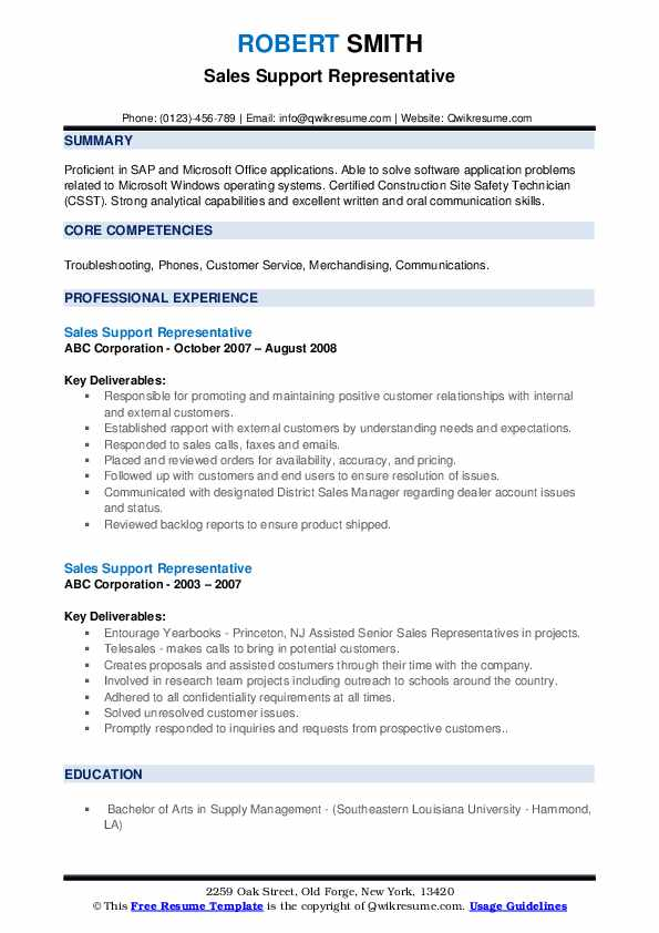 Sales Support Representative Resume example