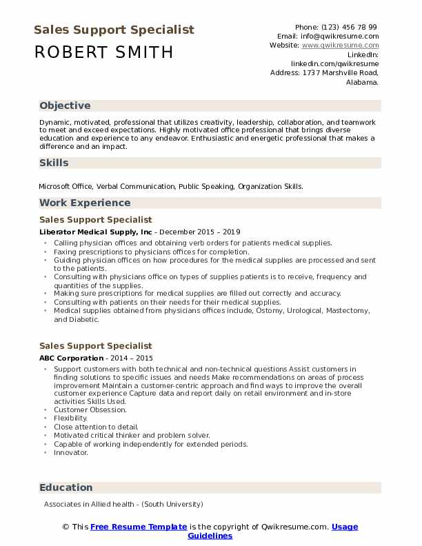 Sales Support Specialist Resume Format