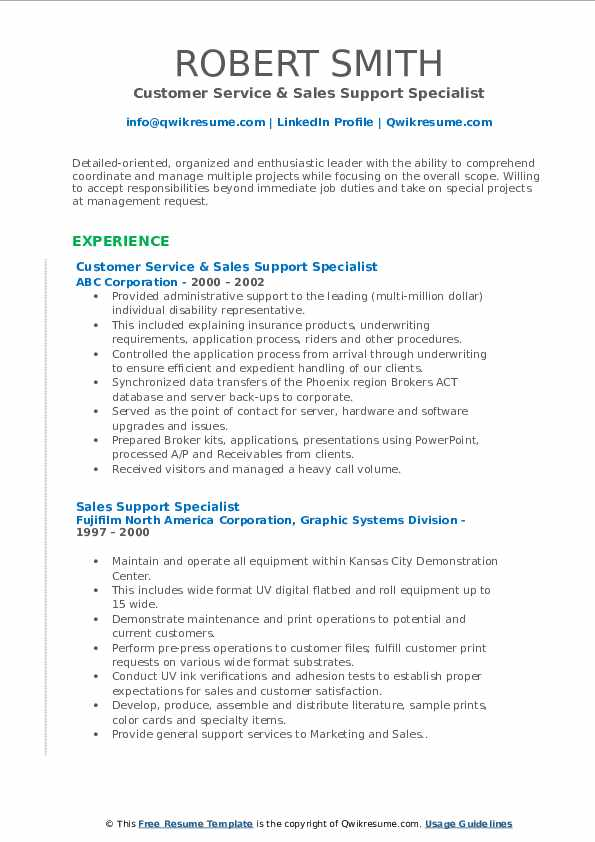 Customer Service & Sales Support Specialist Resume Example