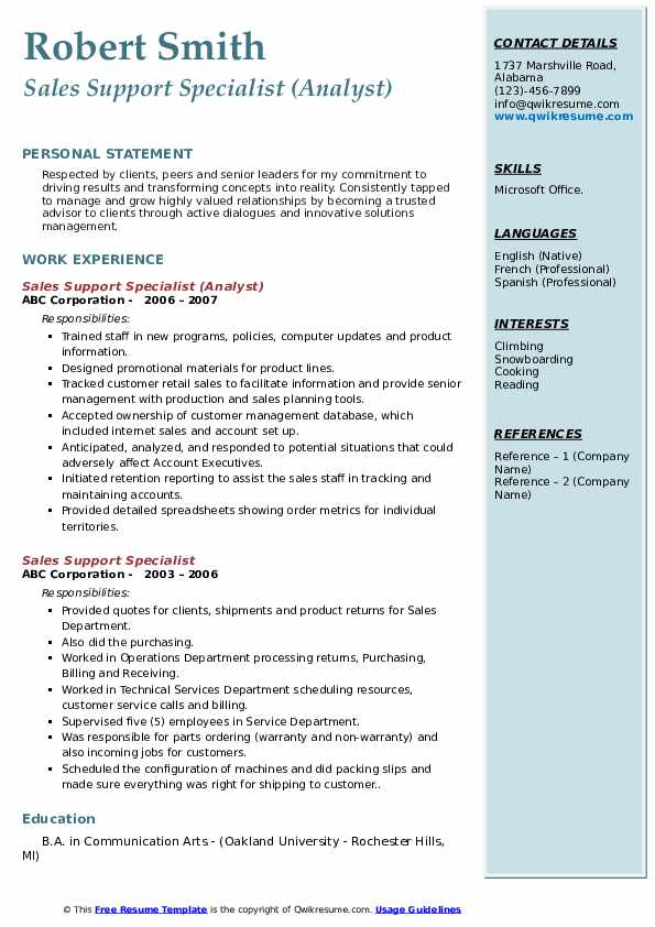 Sales Support Specialist (Analyst) Resume Model