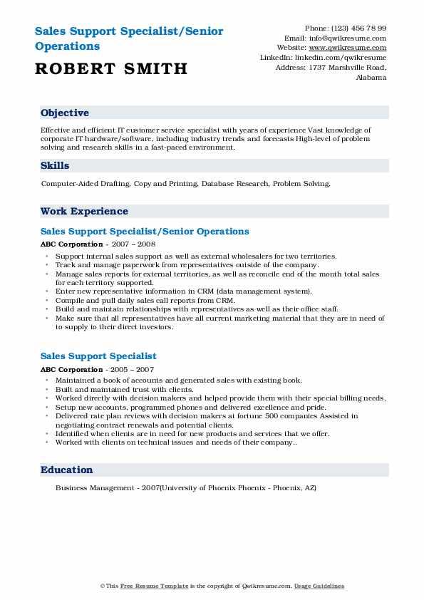 Sales Support Specialist/Senior Operations Resume Model