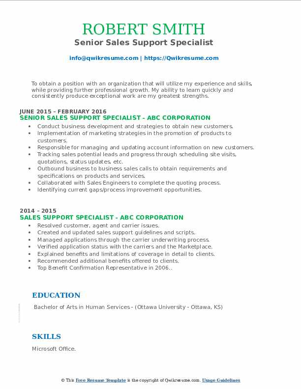 Senior Sales Support Specialist Resume Template