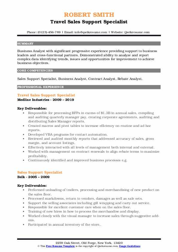 Travel Sales Support Specialist Resume Format