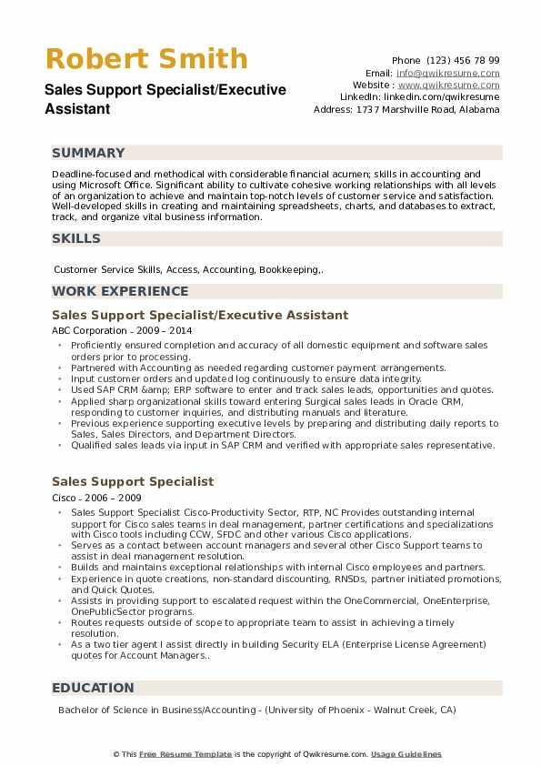 Sales Support Specialist/Executive Assistant Resume Example