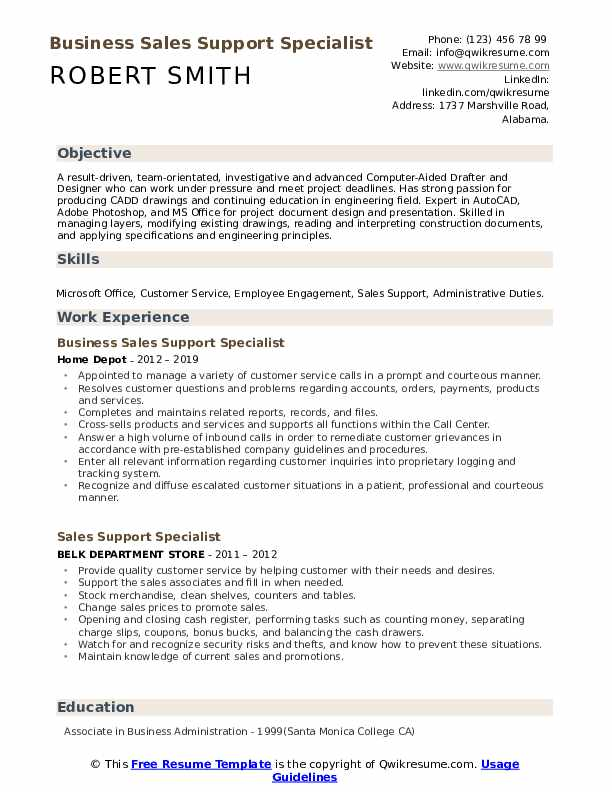 Business Sales Support Specialist Resume Format