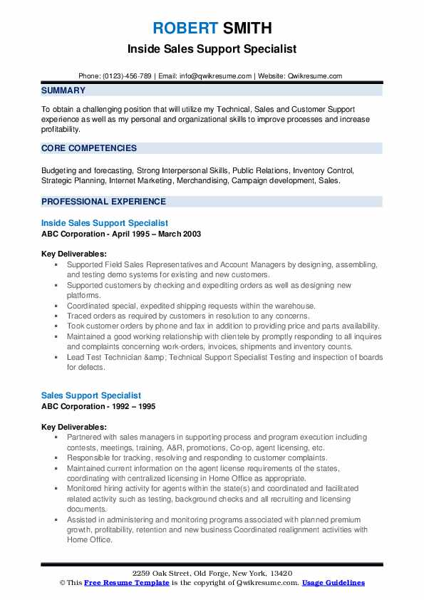 Inside Sales Support Specialist Resume Format