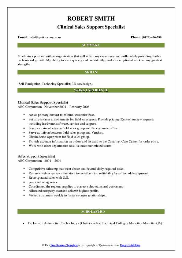 Clinical Sales Support Specialist Resume Template