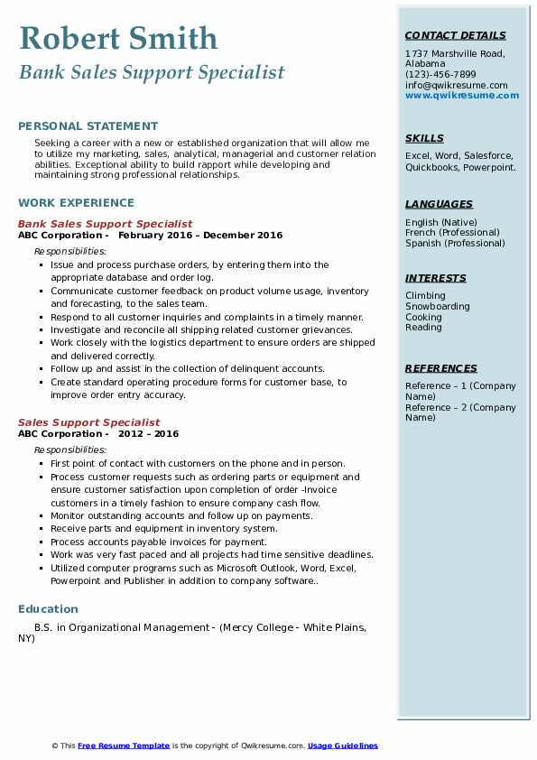 Bank Sales Support Specialist Resume Model