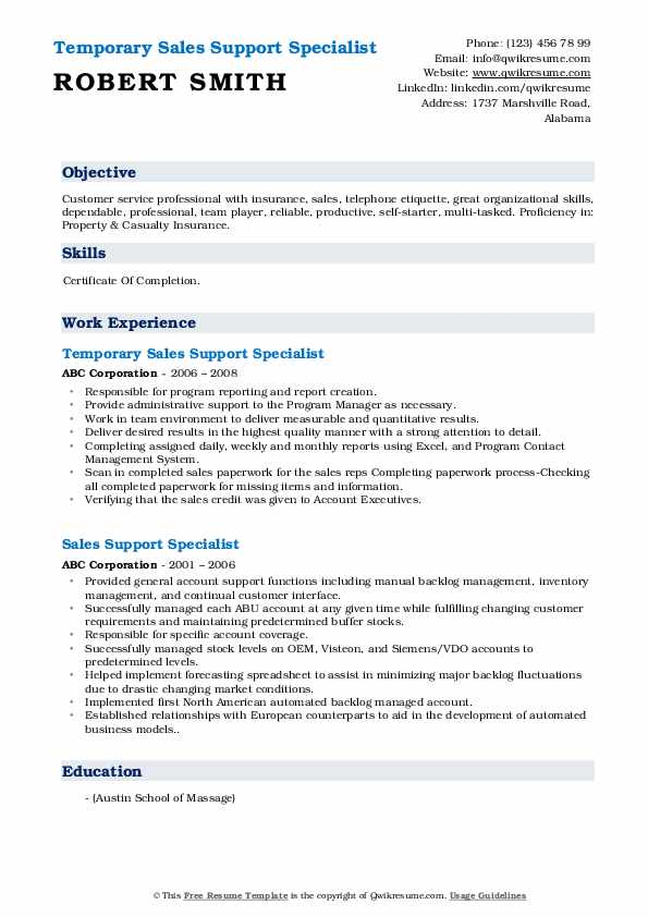 Temporary Sales Support Specialist Resume Template