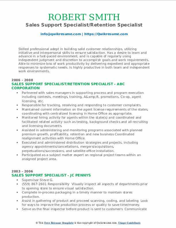 Sales Support Specialist/Retention Specialist Resume Model