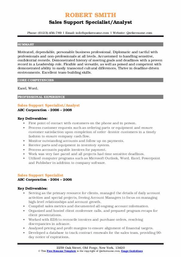 Sales Support Specialist/Analyst Resume Sample