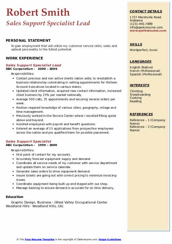 Sales Support Specialist Lead Resume Sample