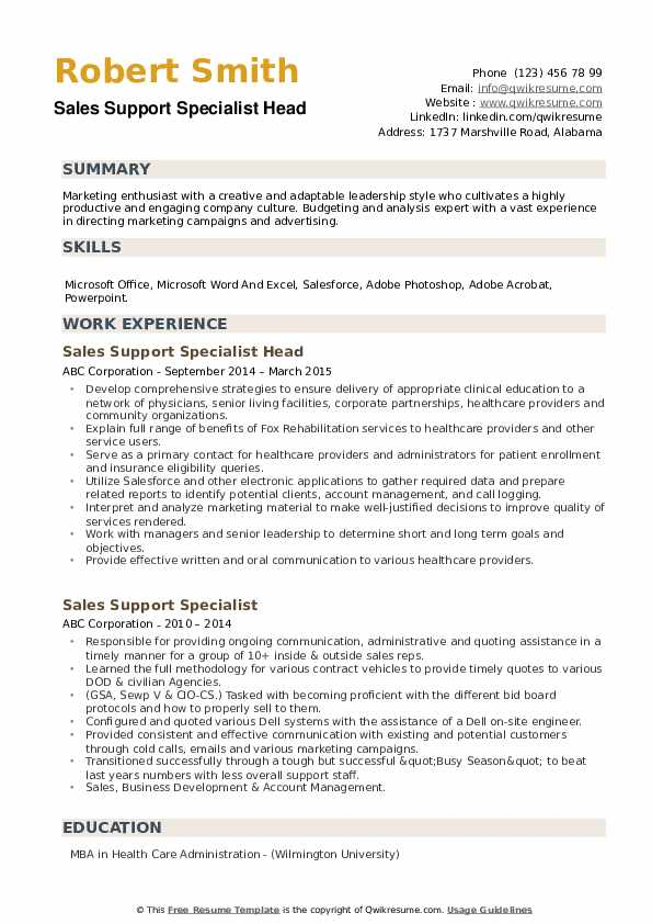 Sales Support Specialist Head Resume Sample