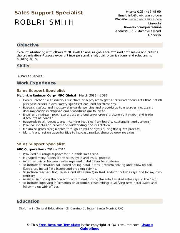 Sales Support Specialist Resume example