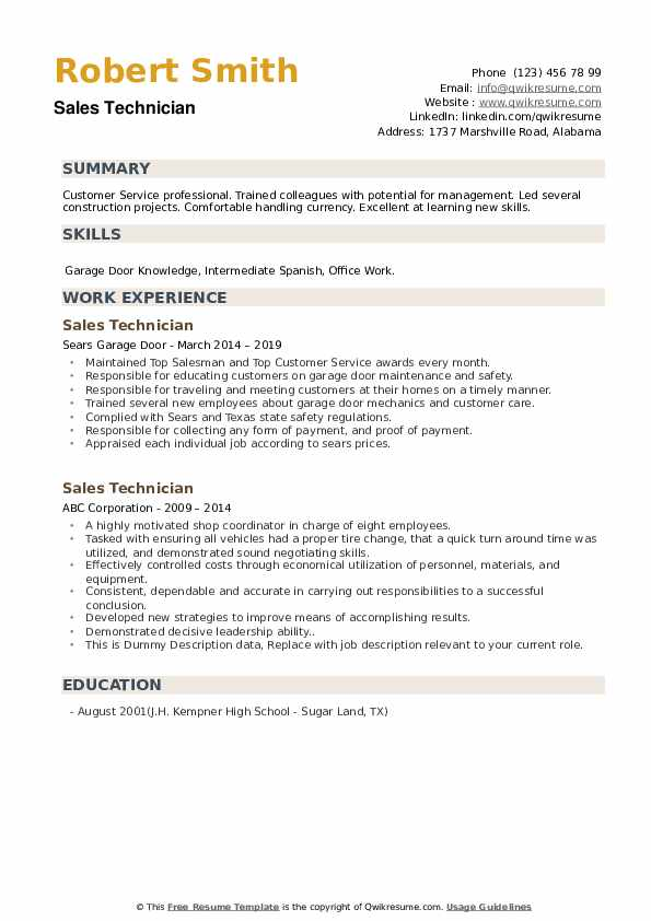 Sales Technician Resume example