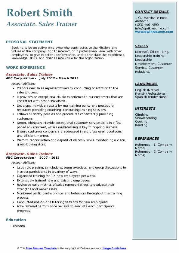 sales trainer resume samples  qwikresume