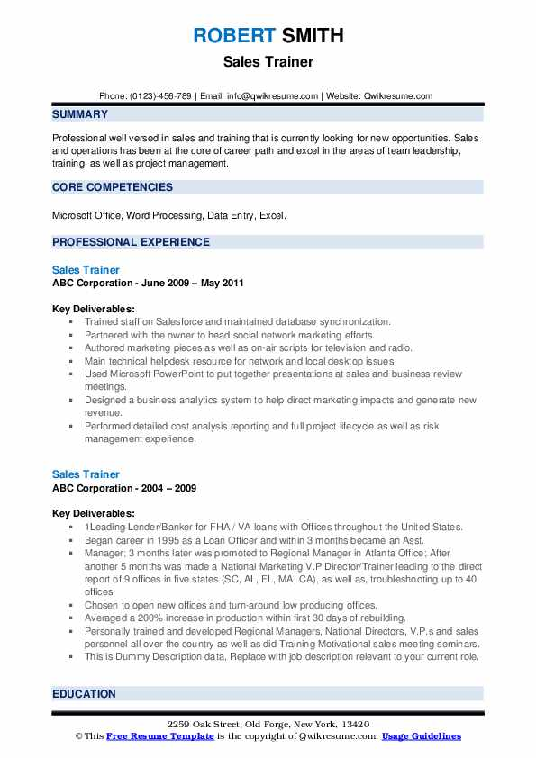Sales Trainer Resume example