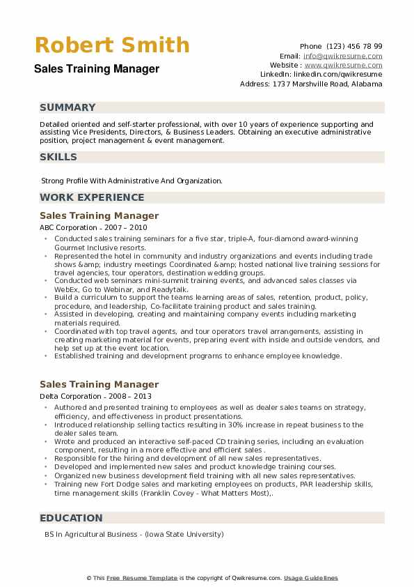 Sales Training Manager Resume example
