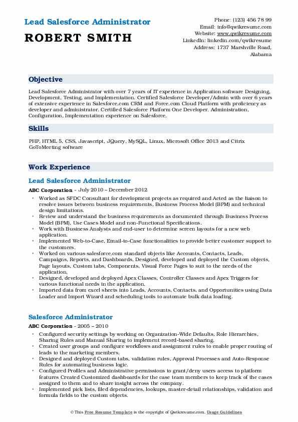 salesforce administrator resume samples