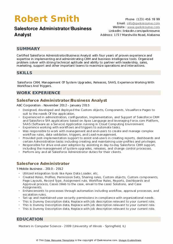 salesforce administrator resume samples
