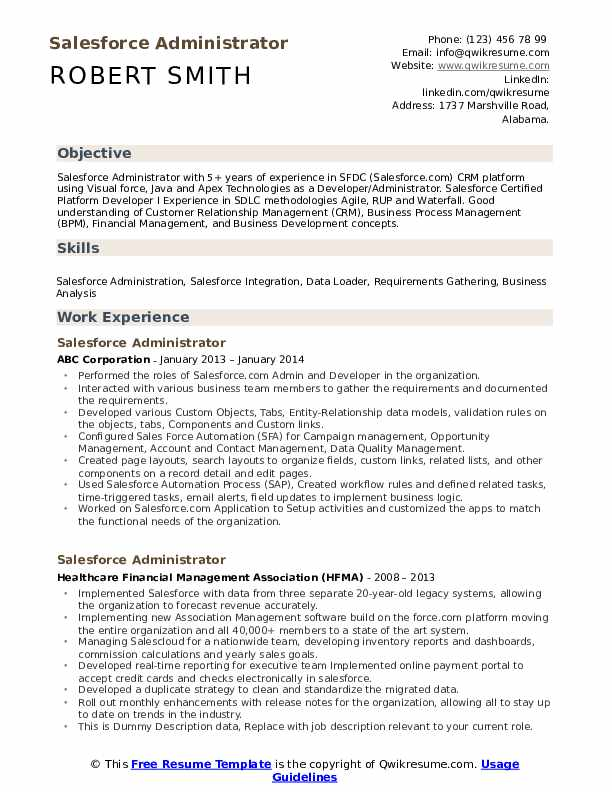 Salesforce Administrator Resume example