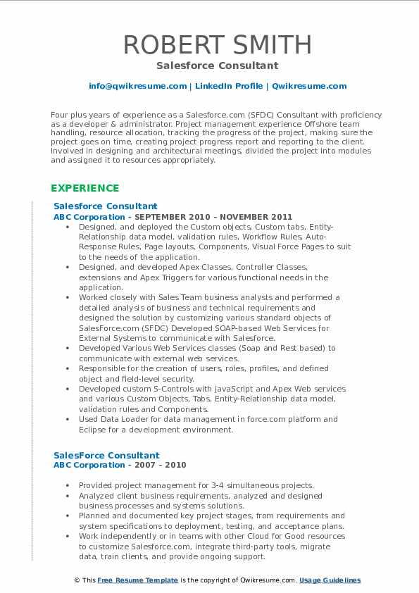 salesforce consultant resume samples