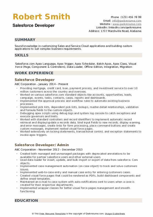 Salesforce Developer Resume Samples Qwikresume