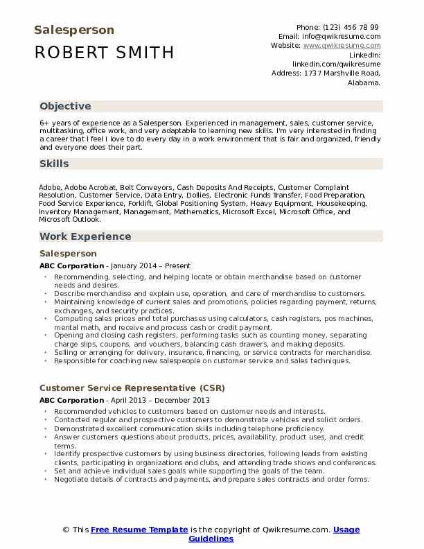 Salesperson  Resume Model