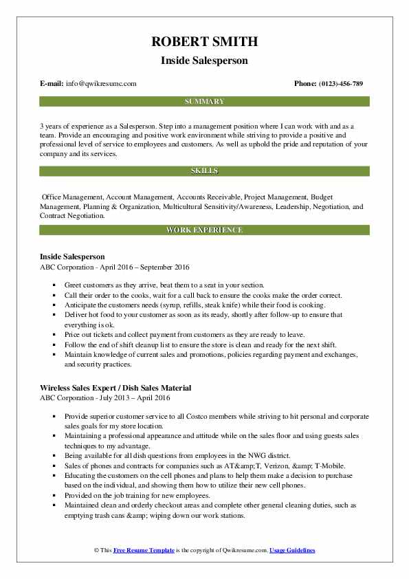 Inside Salesperson Resume Example